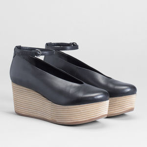 Black Leather Platform Sandles