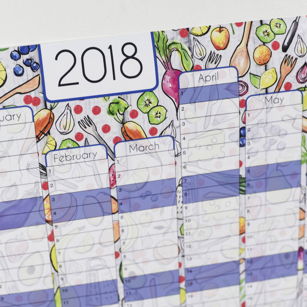 reduced 2018 kitchen wall calendar and year planner