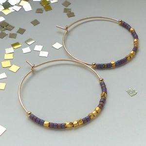 Delica And Fair Trade 30mm Hoops In Purple Or Green