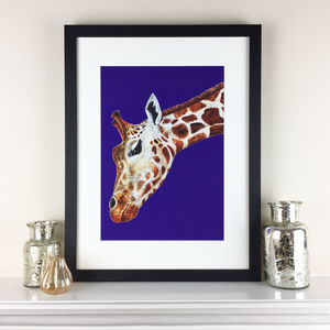 Purple Giraffe Limited Edition Map Print - limited edition art
