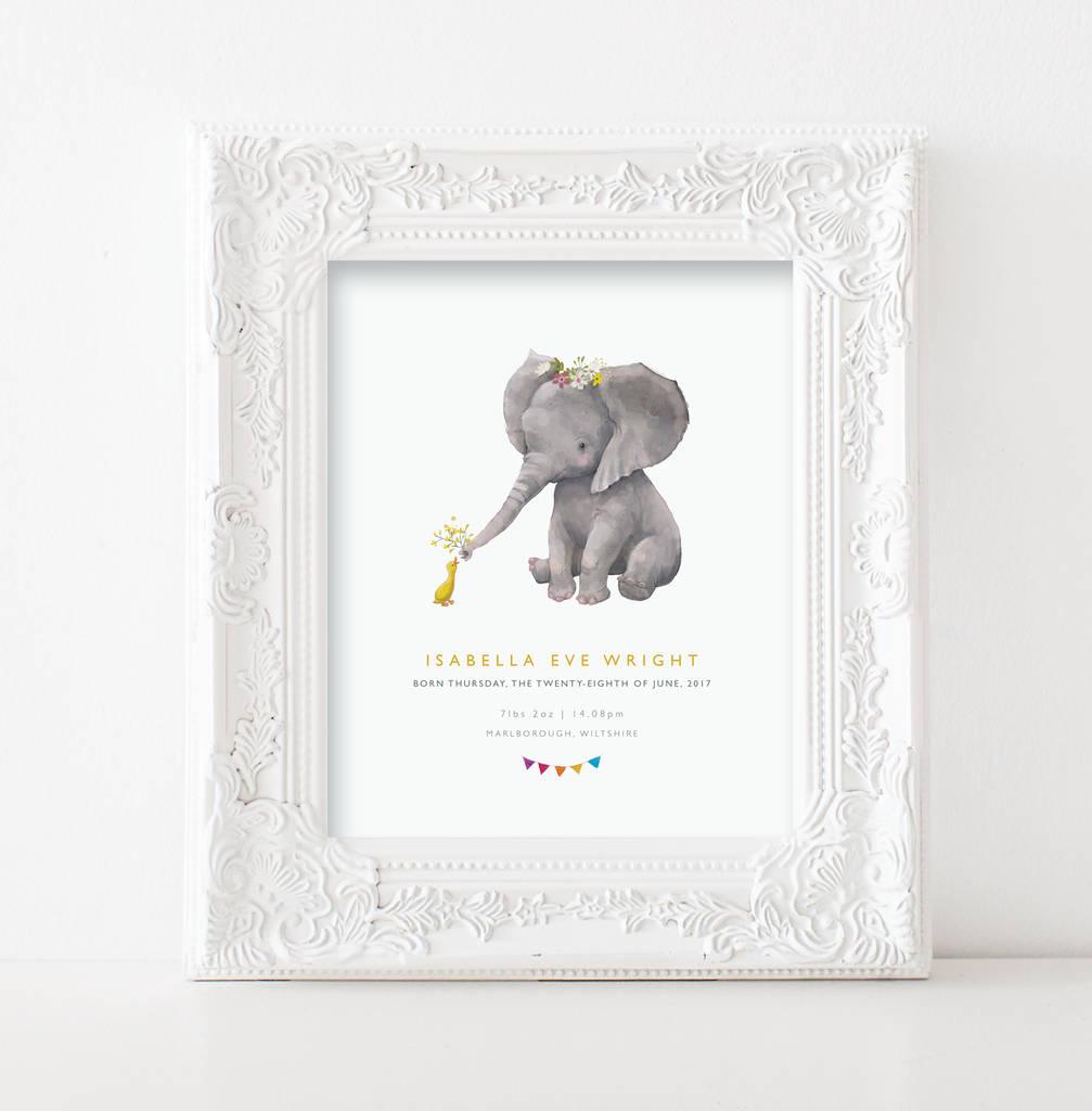 Personalised Baby Print Nursery Elephant