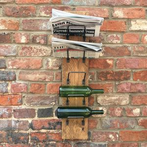 Reclaimed Wine Bottle / Newspaper Rack Holder