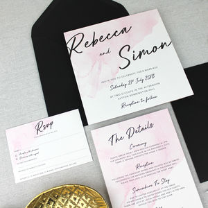 'The Rebecca' Watercolour Wash Wedding Invitation