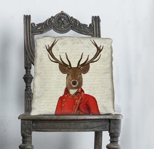 Deer With Red And Gold Jacket Decorative Cushion