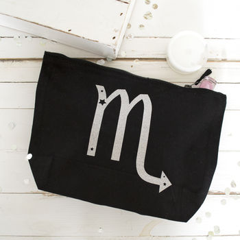 Personalised Glitter Starsign Make Up Pouch