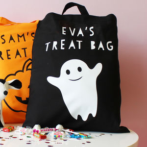 Personalised Ghost Halloween 'Trick Or Treat' Bag - trick or treat bags