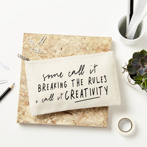 'Breaking The Rules' Pencil Case - writing