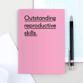 'Outstanding Reproductive Skills' New Baby Card