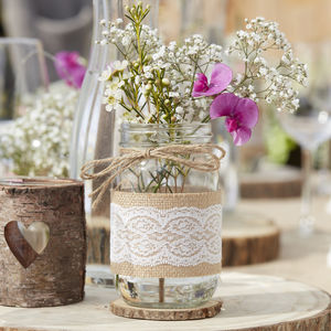 Glass Hessian Wrapped Jar Wedding Vase Decoration - table decorations