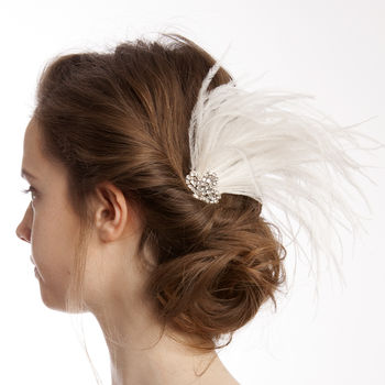 Art Deco Style Feather And Crystal Comb