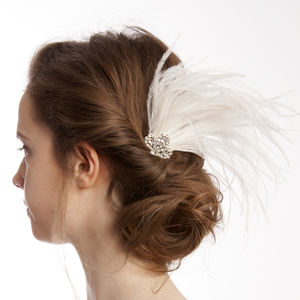 Art Deco Style Feather And Crystal Comb - tiaras & hair combs