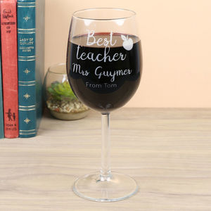 Personalised 'Best Teacher' Wine Glass - new in home
