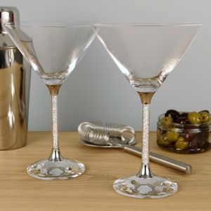 Pair Of Diamante Filled Stem Martini Cocktail Glasses - kitchen