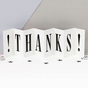 Thank You Card 'Massive Thanks' Concertina Card