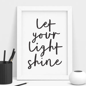 'Let Your Light Shine' Typography Print