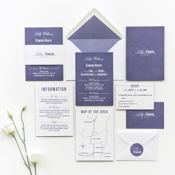 Traditional Style Wedding Invitation / Navy Blue