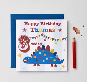 Boys Personalised Dinosaur Birthday Card