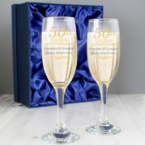 Golden Anniversary Personalised Flute Set With Gift Box