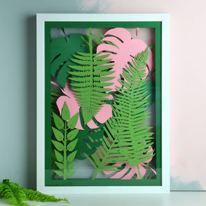 Monstera And Tropical Leaves Multi Layered 3D Papercut