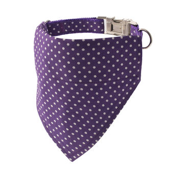 Purple Polka Dot Bandana Dog Collar