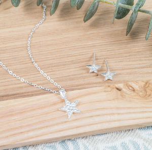 Sterling Silver And Cubic Zirconia Star Pendant - necklaces & pendants