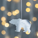 Personalised Mirrored Baby Polar Bear Decoration