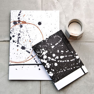 Black Splatter Copper Twist Recycled Paper Notebook