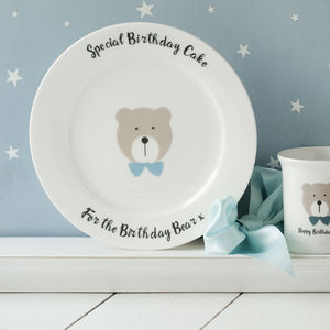 Personalised Happy Birthday Bear Bone China Plate - children's tableware