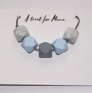 Blue And Grey Geometric Teething Necklace - baby care