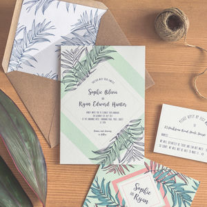 Tropical Leaf Wedding Invitation / Emerald Green - invitations