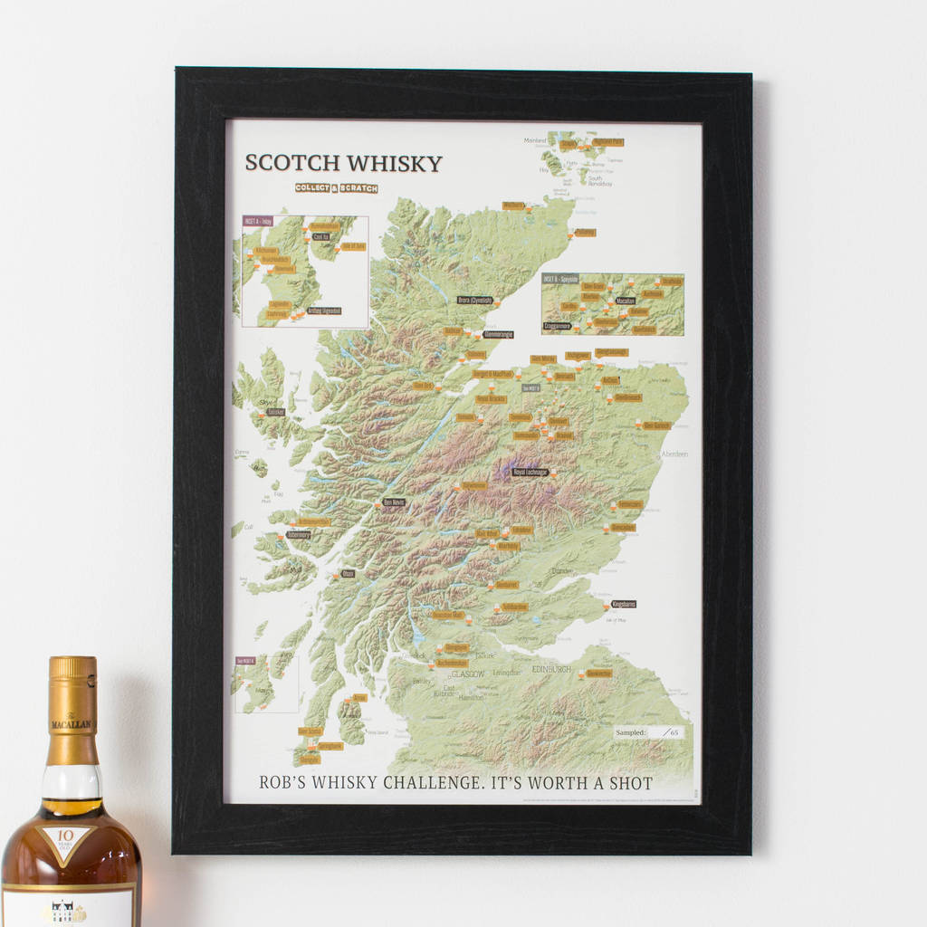 Personalised Scratch Off Whisky Distilleries Print