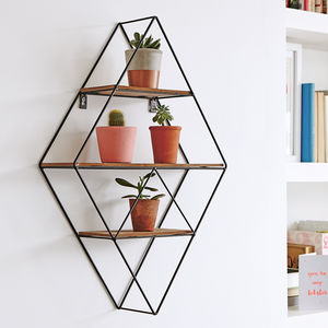 Geometric Black Wire Display Shelf - furniture