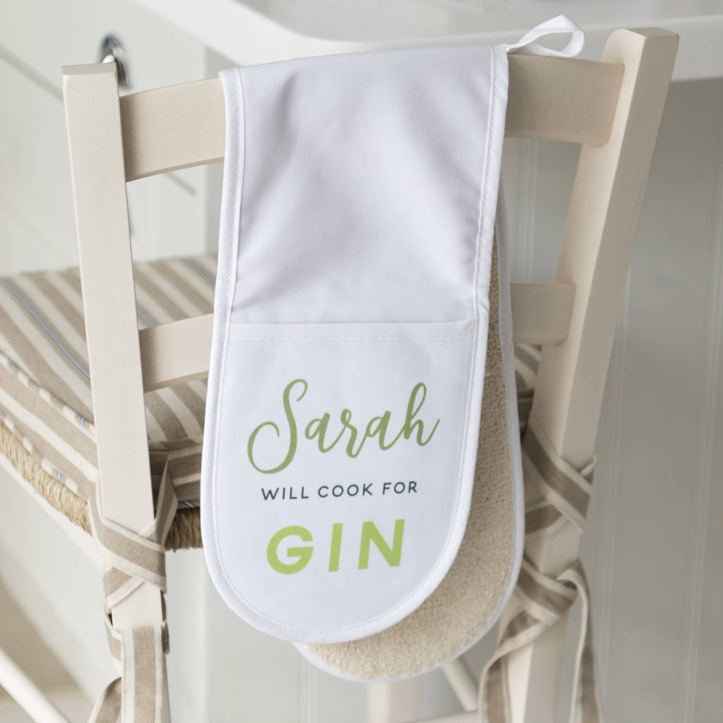 Personalised 'Will Cook For Gin' Oven Gloves