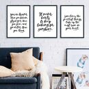 Calligraphy Inspirational Quote Print Set Of Three