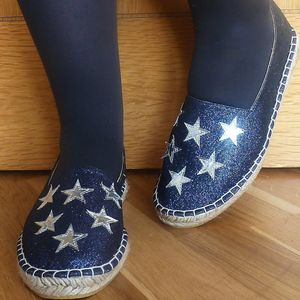 Silver Stars Navy Glitter Espadrilles - shoes