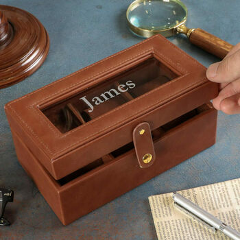 Personalised Luxury Vegan Leather Travel Watch Box