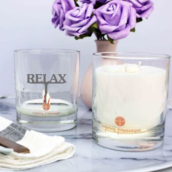 'Relax' Hidden Message Scened Candle