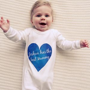 Mother's Day Love Heart Baby Grow - first valentine's day