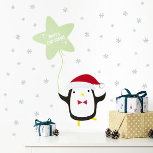Merry Christmas Penguin And Snow Stars Wall Stickers