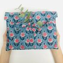 Cotton Gift Bag, Reusable, Blue Sunflower Design