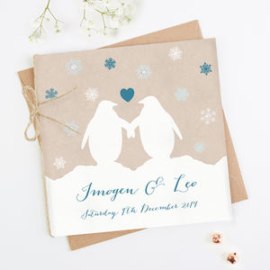 Penguin And Snowflake Folded Wedding Invitation