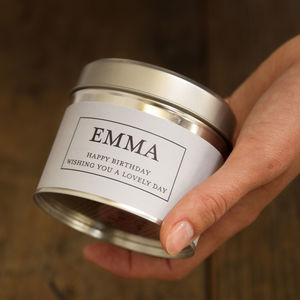 Personalised Scented Tin Candle Any Wording - votives & tea lights