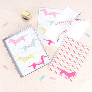 Dachsies Notecards And Pens Gift Set - winter sale