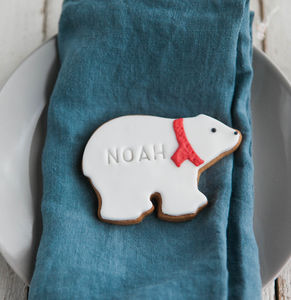 Personalised Polar Bear Biscuit - christmas eve box ideas