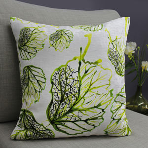 Inky Leaf Botanical Print Cushion - bedroom