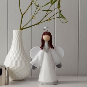 Handmade White And Silver Angel Tree Topper