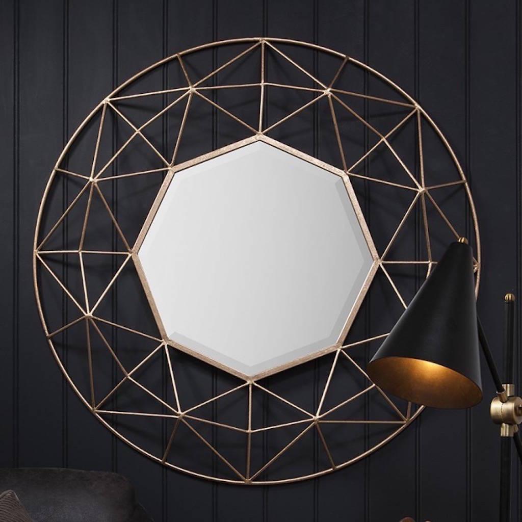 3D Geometric Gold Framed Gold Mirror