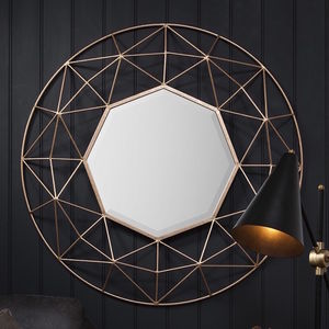 3D Geometric Gold Framed Gold Mirror - mirrors