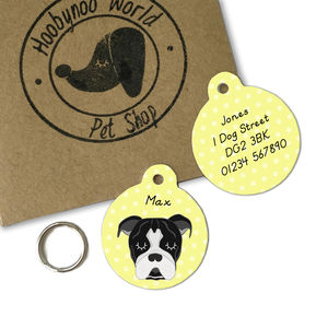 Old Thyme Bulldog Personalised Dog Name ID Tag - pet tags & charms