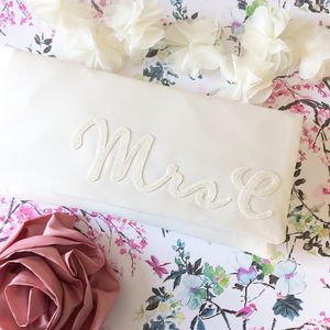 Mrs Initial Bridal Wedding Day Clutch - womens